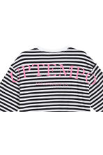 Oversized tricot top - Wit/zwart gestreept - HEREN | H&M BE 2