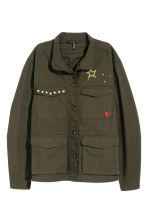 Cotton cargo jacket - Dark khaki green - Ladies | H&M CN 2
