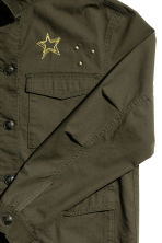 Cotton cargo jacket - Dark khaki green - Ladies | H&M CN 3
