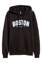 Hooded top with a motif - Black - Men | H&M 2