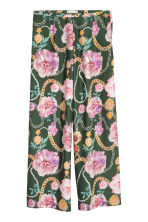 Wide trousers - Green/Floral - Ladies | H&M GB 2