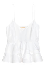 Flounced strappy top - White -  | H&M CA 2