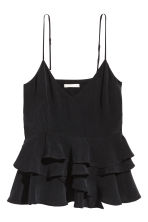Flounced strappy top - Black -  | H&M CA 2