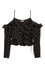 Cold-shoulderblouse - Zwart/stippen -  | H&M NL 2