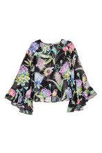 Trumpet-sleeved blouse - Black/Floral - Ladies | H&M 2