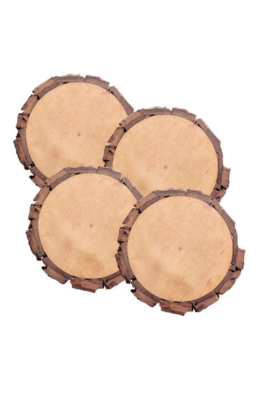 4-pack Wooden Coasters - Natural - Home All | H&M CA