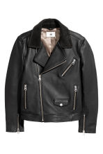 Leather biker jacket - Black - Men | H&M 2