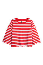 Cropped jersey top - Red/White striped - Ladies | H&M 1