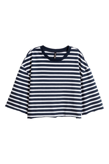 Cropped jersey top - Dark blue/White striped - Ladies | H&M 1