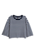 Short Jersey Top - Dark blue/white striped -  | H&M CA 1