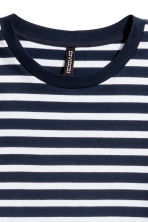 Cropped jersey top - Dark blue/White striped - Ladies | H&M 2