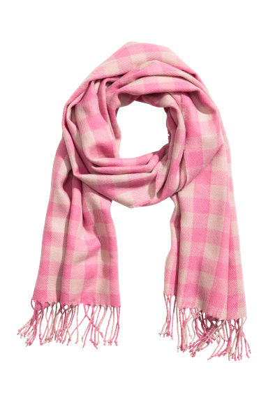 Woven scarf - Pink/White checked - Ladies | H&M CN