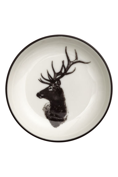 Small printed porcelain plate - White/Deer - Home All | H&M IE