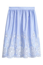 Knee-length skirt - Light blue/Broderie anglaise - Ladies | H&M 2