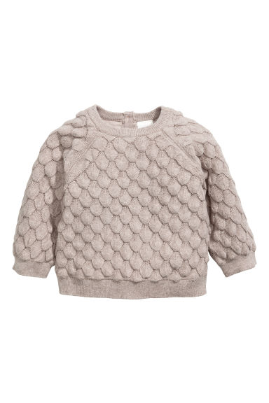 Textured-knit cotton jumper - Light mole - Kids | H&M 1
