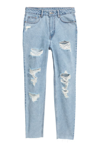 Slim Mom Jeans - Light blue/Trashed - Ladies | H&M