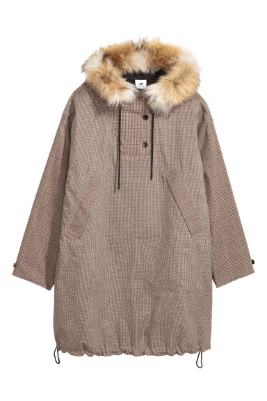 Anorak long à capuche - Marron/noir à carreaux - FEMME | H&M BE