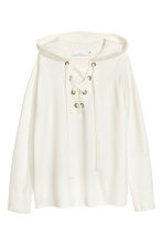 Hooded top with lacing - White - Ladies | H&M GB 2