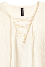 Top with lacing - Natural white - Ladies | H&M 3