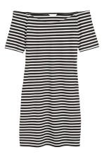 Off-the-shoulder dress - Black/White/Striped - Ladies | H&M 2