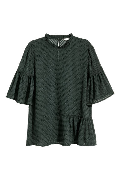 Flounced top - Dark green - Ladies | H&M