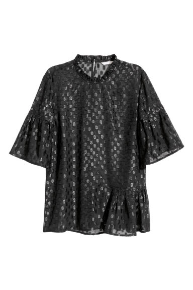 Flounced top - Black - Ladies | H&M