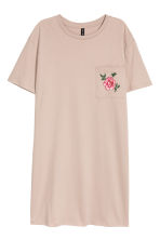 Printed T-shirt dress - Light mole/Flowers - Ladies | H&M CN 1