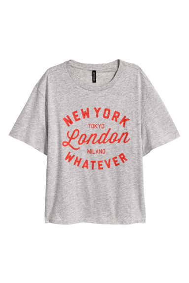 Wide T-shirt - Grey -  | H&M