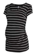 MAMA Cotton jersey top - Black/White striped - Ladies | H&M 2