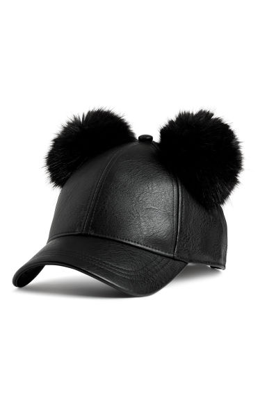 Cap with pompoms - Black - Ladies | H&M CN 1
