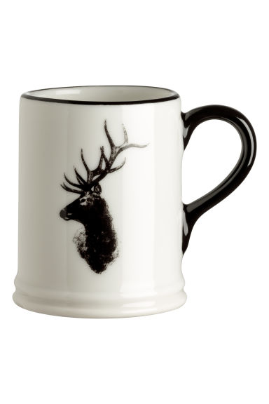 Small porcelain mug with motif - White/Deer - Home All | H&M CN