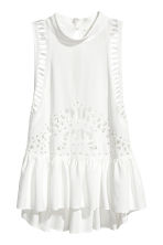 Hole-embroidered top - White -  | H&M 2