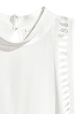 Hole-embroidered top - White -  | H&M 3