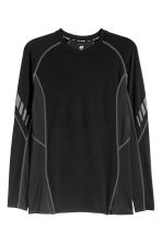 Long-sleeved sports top - Black - Men | H&M 2