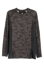 Long-sleeved sports top - Dark green/Patterned - Men | H&M 2