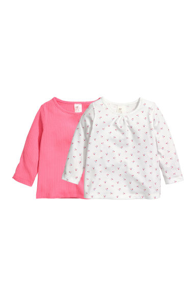 Set van 2 tricot tops - Roze/wit -  | H&M BE