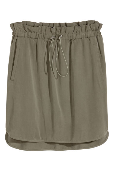 Lyocell skirt - Khaki green - Ladies | H&M 1