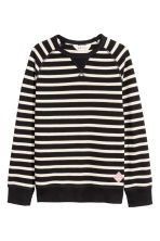 Cotton piqué top - Black/White striped - Kids | H&M IE 1