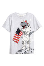 T-shirt with Printed Design - Light grey/Dinosaur - Kids | H&M CA 2
