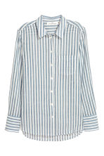 Airy cotton shirt - White/Blue striped - Ladies | H&M IE 2