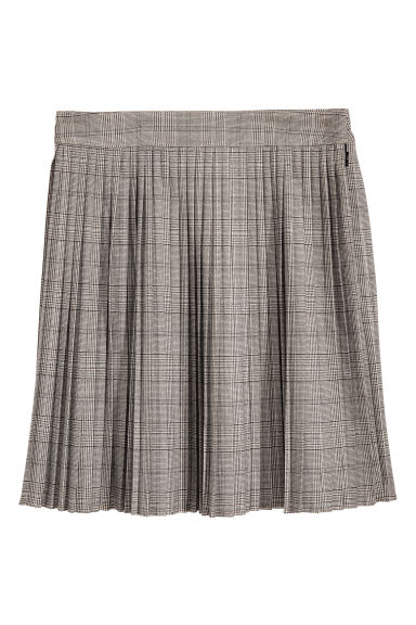Pleated skirt - Beige/Checked - Ladies | H&M CN