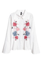 Shirt with flared sleeves - White/Flowers - Ladies | H&M CA 2