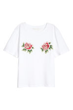 T-shirt con ricami - Bianco -  | H&M IT 2