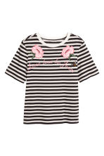 Embroidered T-shirt - Dark grey/Striped -  | H&M 2