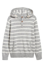 Knitted hooded jumper - Light grey - Kids | H&M 2