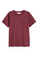 T-shirt met borstzak - Bordeauxrood gemêleerd -  | H&M BE 2
