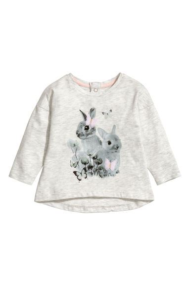 Long-sleeved jersey top - Light grey/Rabbits - Kids | H&M IE