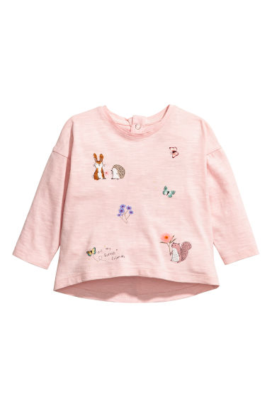 Long-sleeved jersey top - Light pink/Forest animals -  | H&M CN 1