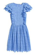Dress with broderie anglaise - Blue - Ladies | H&M GB 2