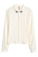 Shirt with sparkly stones - White - Ladies | H&M 2